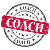 Coach red grunge textured vintage isolated stamp — Stock Photo