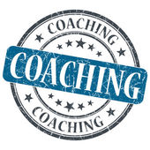 Coaching blue grunge textured vintage isolated stamp — Stock Photo