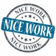 Nice work blue grunge textured vintage isolated stamp — Stock Photo #48091889