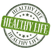 Healthy life green grunge textured vintage isolated stamp — Stock Photo