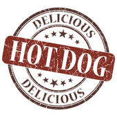 Hot dog brown grunge textured vintage isolated stamp — Stock Photo
