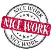 Nice work red grunge textured vintage isolated stamp — Stock Photo