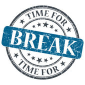 Time for break blue grunge textured vintage isolated stamp — Foto Stock