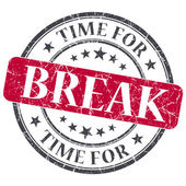 Time for break red grunge textured vintage isolated stamp — Stock Photo