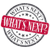 What's next red grunge textured vintage isolated stamp — Stock Photo