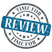 Time for review blue grunge textured vintage isolated stamp — Stock Photo