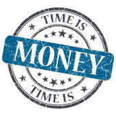 Time is money blue grunge textured vintage isolated stamp — Stock Photo