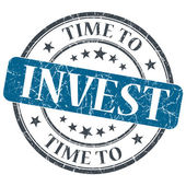 Time to invest blue grunge textured vintage isolated stamp — Stock Photo