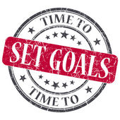Time to set goals red grunge textured vintage isolated stamp — Stock Photo