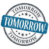 Tomorrow blue grunge textured vintage isolated stamp — Stock Photo