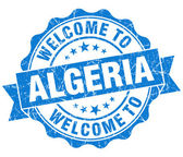 Welcome to Algeria blue grungy vintage isolated seal — Stock Photo