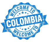 Welcome to Colombia blue grungy vintage isolated seal — Stock Photo