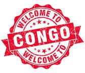 Добро пожаловать на Конго красный шероховатый Винтаж изолированных печать — Стоковое фото