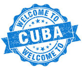 Welcome to Cuba blue grungy vintage isolated seal — Stock Photo