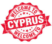 Welcome to Cyprus red grungy vintage isolated seal — Stock Photo