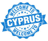 Welcome to Cyprus blue grungy vintage isolated seal — Stock Photo