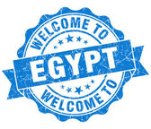 Welcome to Egypt blue grungy vintage isolated seal — Stock Photo