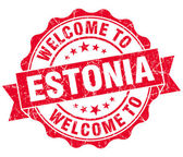Welcome to Estonia red grungy vintage isolated seal — Stock Photo