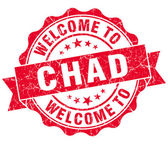 Welcome to Chad red grungy vintage isolated seal — Stock Photo