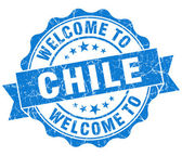Welcome to Chile blue grungy vintage isolated seal — Stock Photo