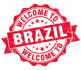 Welcome to Brazil red grungy vintage isolated seal — Stock Photo