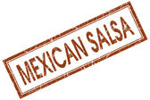 Mexican salsa brown square grungy stamp isolated on white background — Stock Photo