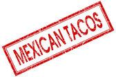 Mexicaanse taco's Rode plein grungy stempel geïsoleerd op witte achtergrond — Stockfoto