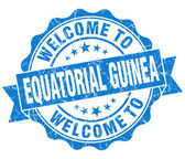 Welcome to Equatorial Guinea  blue grungy vintage isolated seal — Foto Stock