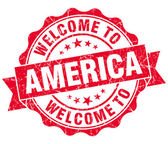Welcome to America red grungy vintage isolated seal — Stock Photo