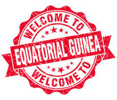 Welcome to Equatorial Guinea red grungy vintage isolated seal — Foto Stock