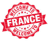 Welcome to France red grungy vintage isolated seal — Foto Stock