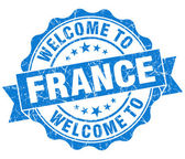 Welcome to France blue grungy vintage isolated seal — Foto Stock