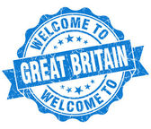 Welcome to Great Britain blue grungy vintage isolated seal — Stock Photo