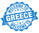 Welcome to Greece blue grungy vintage isolated seal — Foto Stock