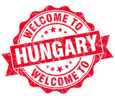 Welcome to Hungary red grungy vintage isolated seal — Foto Stock