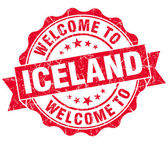 Welcome to Iceland red grungy vintage isolated seal — Stock Photo