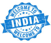 Welcome to India blue grungy vintage isolated seal — Stock Photo