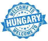Welcome to Hungary blue grungy vintage isolated seal — Foto Stock