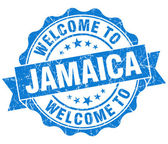 Welcome to Jamaica blue grungy vintage isolated seal — Stock Photo