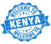 Welcome to Kenya blue grungy vintage isolated seal — Stock Photo