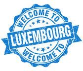 Welcome to Luxembourg blue grungy vintage isolated seal — Stock Photo