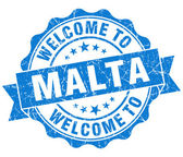 Welcome to Malta blue grungy vintage isolated seal — Stock Photo