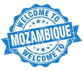 Welcome to Mozambique blue grungy vintage isolated seal — Foto Stock