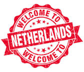 Welcome to Netherlands red grungy vintage isolated seal — Foto Stock