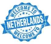 Welcome to Netherlands blue grungy vintage isolated seal — Foto Stock