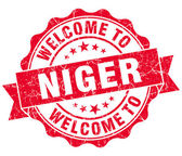 Welcome to Niger red grungy vintage isolated seal — Stock Photo