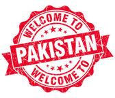 Witamy w pakistanie czerwony nieczysty vintage pieczęć na białym tle — Zdjęcie stockowe