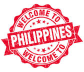 Welcome to Philippines red grungy vintage isolated seal — Foto Stock