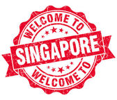 Welcome to Singapore red grungy vintage isolated seal — Foto Stock