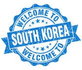 Benvenuti al sud corea blu tenuta isolata d'epoca sgangherata — Foto Stock